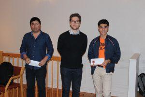 De tre beste i turneringen. Francisco Silva Gonzalez, Jon Ludvig Hammer og Aryan Tari.